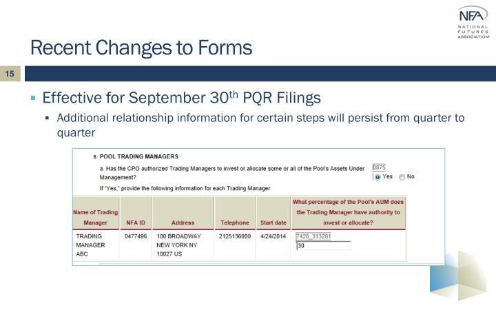 Recent Changes to Forms