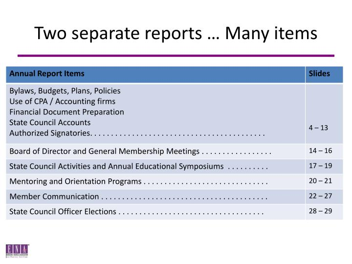 Two separate reports many items