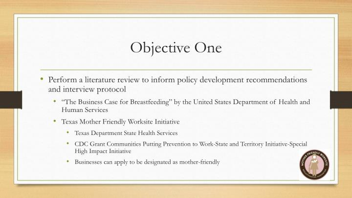 Objective One