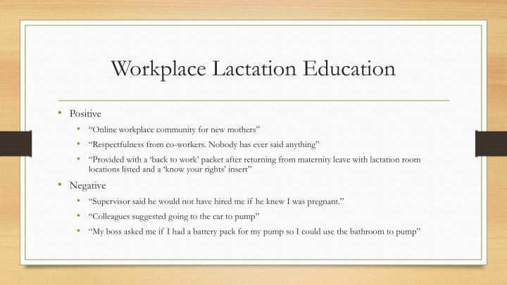 Workplace Lactation Education