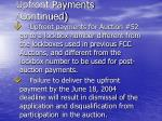 upfront payments continued