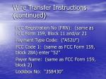 wire transfer instructions continued