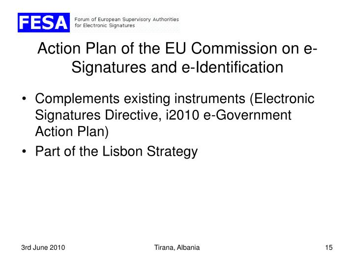 Action Plan of the EU Commission on e-Signatures and e-Identification