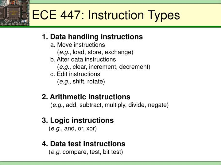 ECE 447: Instruction Types