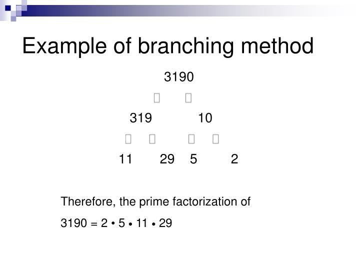 Example of branching method