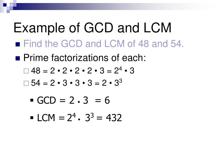 Example of GCD and LCM
