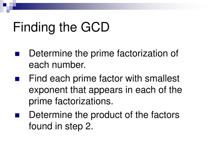 Finding the GCD