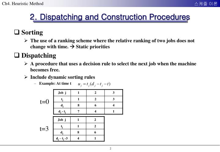 2 dispatching and construction procedures