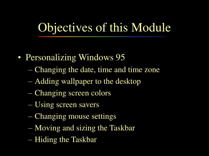 Objectives of this module