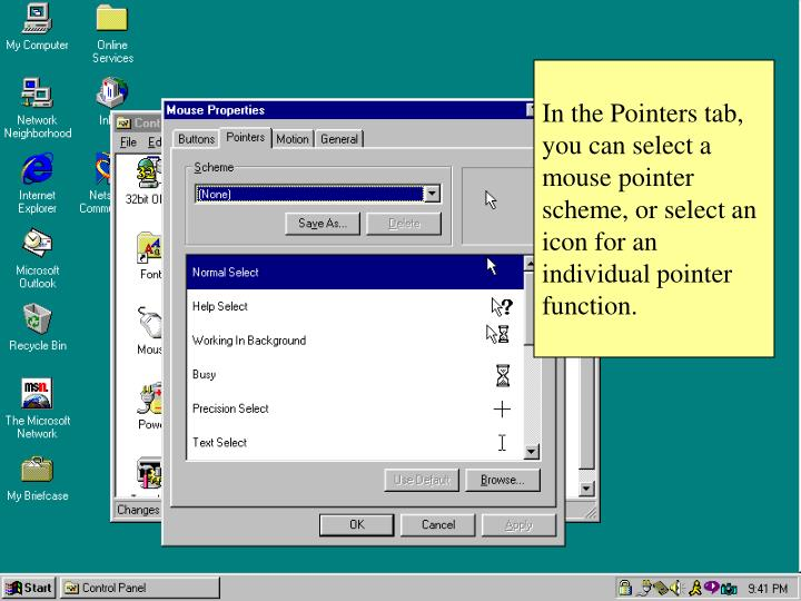 In the Pointers tab, you can select a mouse pointer scheme, or select an icon for an individual pointer function.
