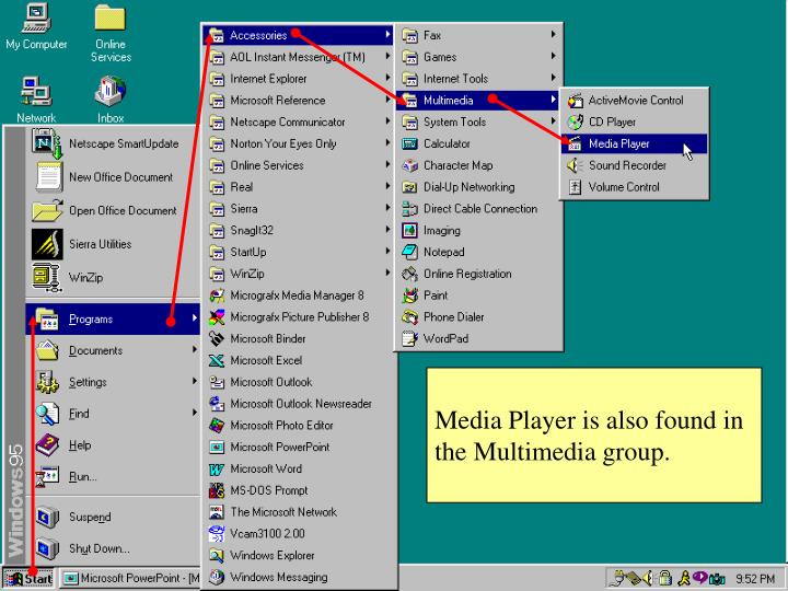 Media Player is also found in the Multimedia group.