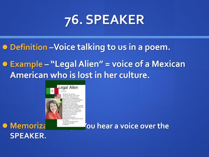 mexican american and poem legal alien essay The poems, today was a bad day like tb, pigeons, and legal alien, are pronouncements of frustrations that are fueled by either cultural appropriation or racial inequality, outlets of social issues that are based on racial and ethnic differences ,and information and reassurance for other hyphenated american cultures that.