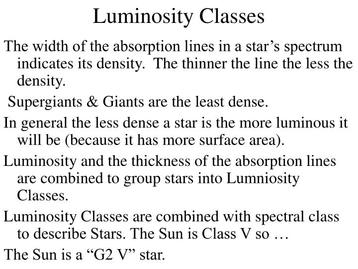 Luminosity classes1