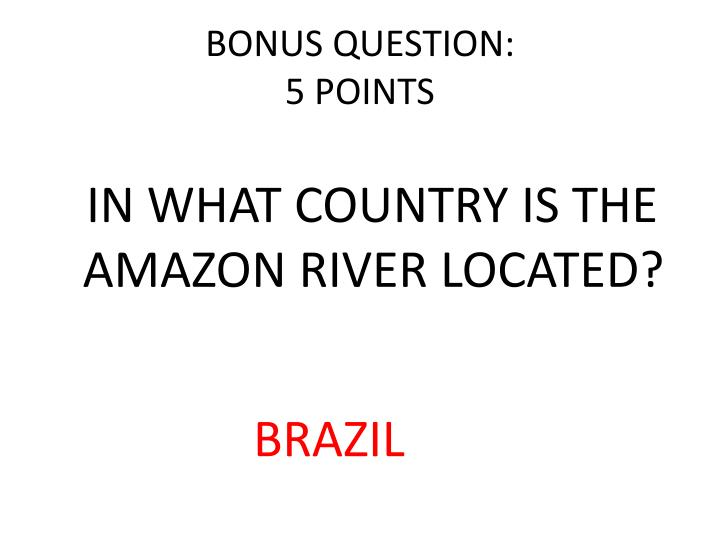 BONUS QUESTION: