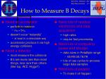 how to measure b decays