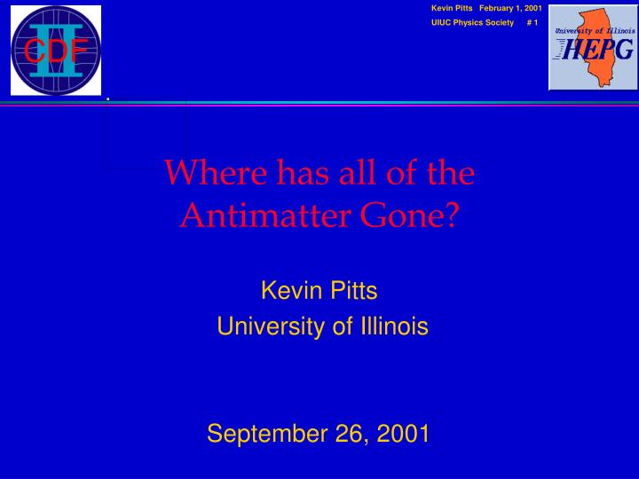 where has all of the antimatter gone n.