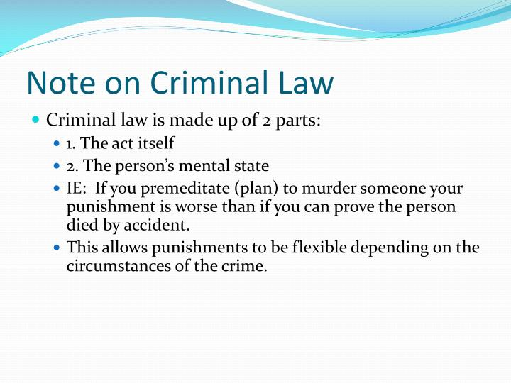 Note on Criminal Law