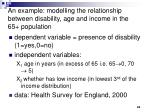 an example modelling the relationship between disability age and income in the 65 population