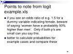 points to note from logit example xls
