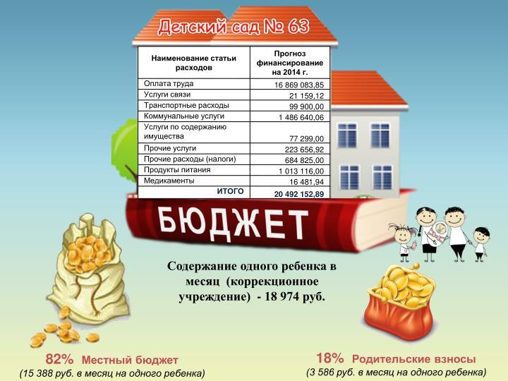 Содержание одного ребенка в месяц  (коррекционное учреждение)  - 18 974 руб.