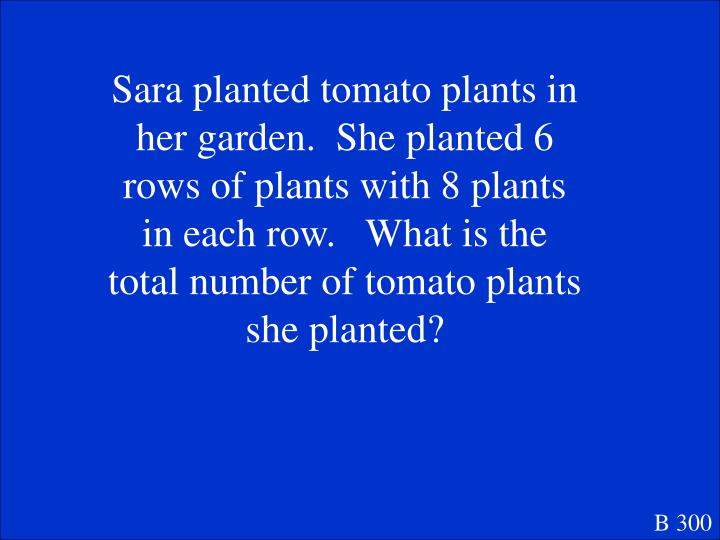 Sara planted tomato plants in her garden.  She planted 6 rows of plants with 8 plants in each row.   What is the total number of tomato plants she planted?
