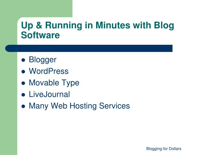 Up & Running in Minutes with Blog Software