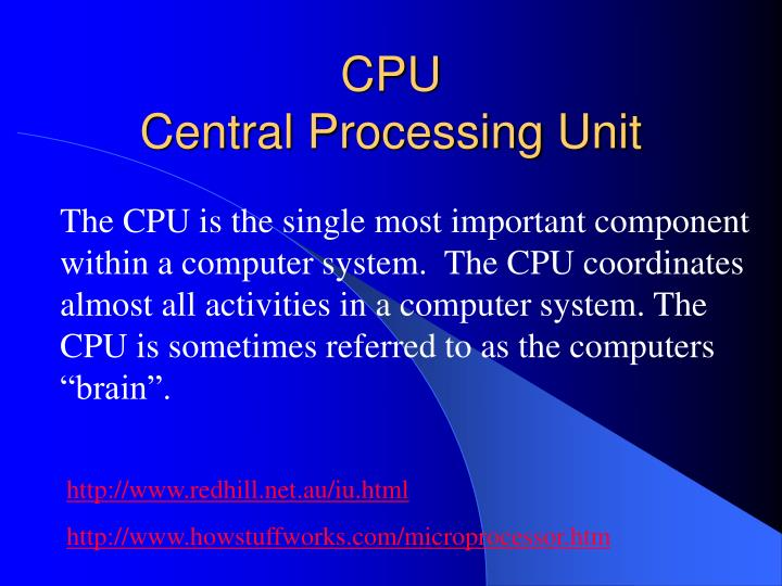 sequential process of replacing a central processing unit The cpu's control unit coordinates and times the cpu's functions, and it uses the program counter to locate and retrieve the next instruction from this entire sequence of steps is called an instruction cycle frequently, several instructions may be in process simultaneously, each at a different stage in.