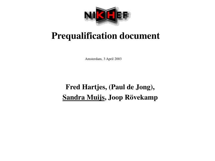 prequalification document n.
