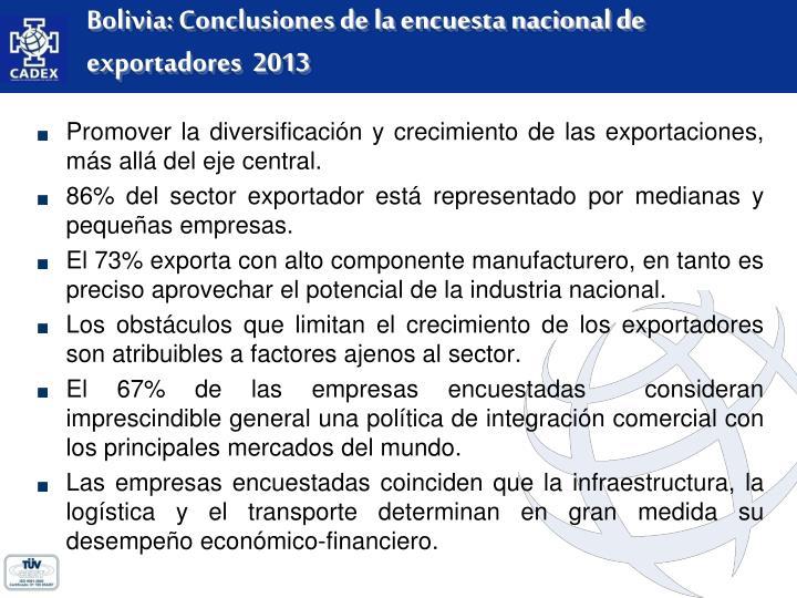 Bolivia: Conclusiones de la encuesta nacional de exportadores  2013