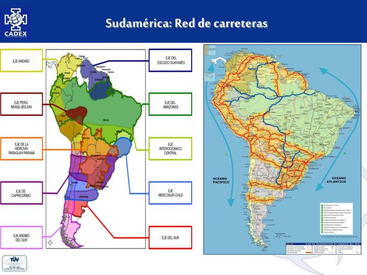 Sudamérica: Red de carreteras