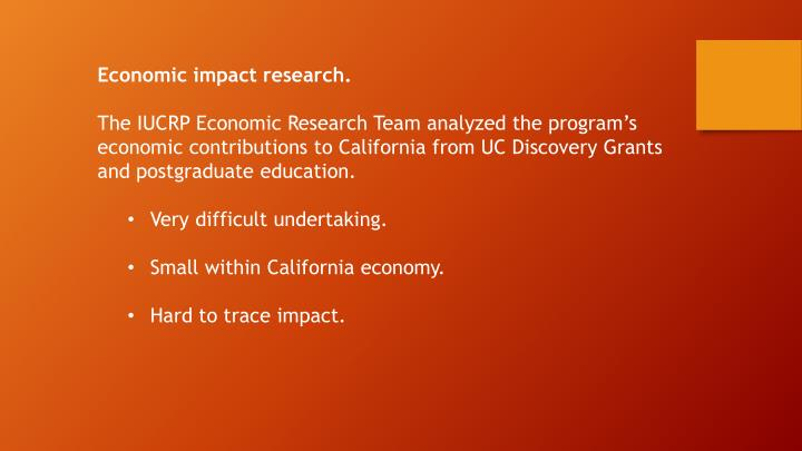Economic impact research.