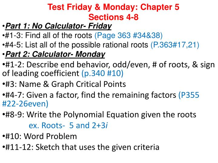 test friday monday chapter 5 sections 4 8 n.