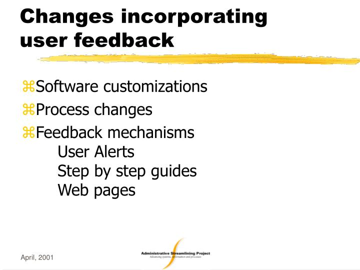 Changes incorporating user feedback