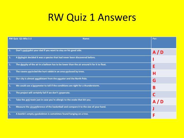 RW Quiz