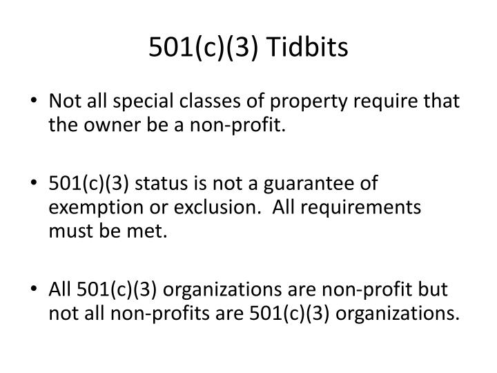 501(c)(3) Tidbits