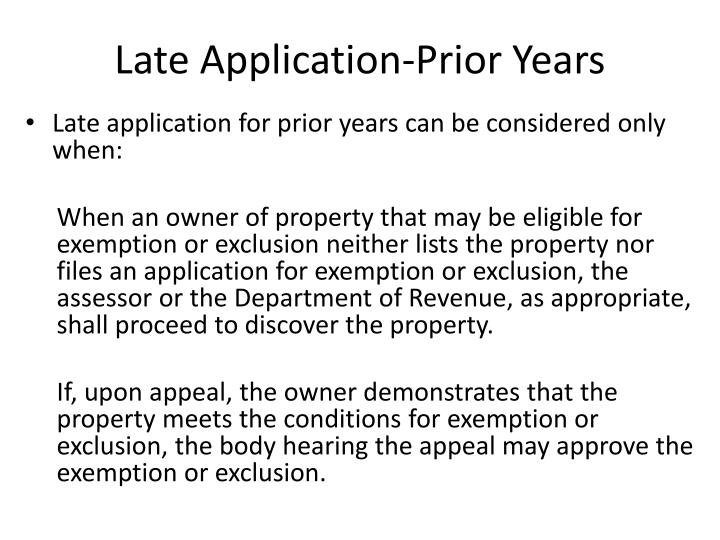 Late Application-Prior Years