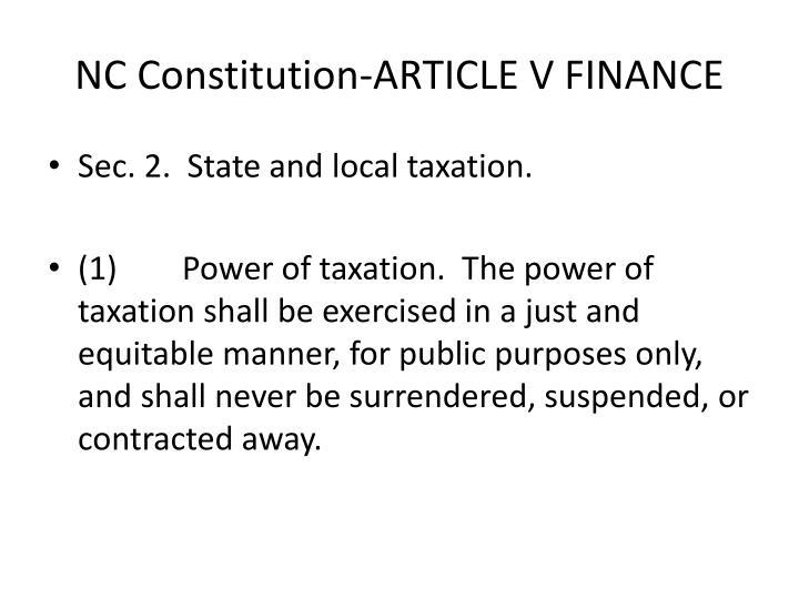 Nc constitution article v finance