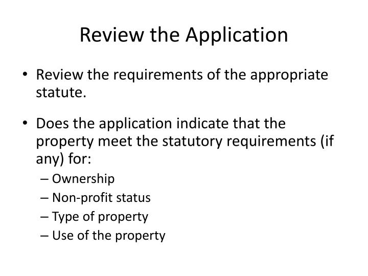 Review the Application