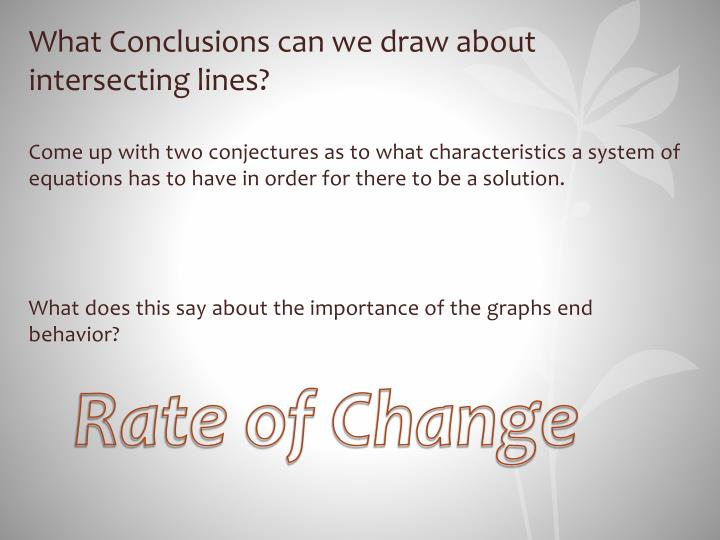 What Conclusions can we draw about intersecting lines?
