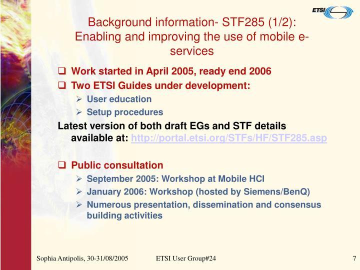 Background information- STF285 (1/2):