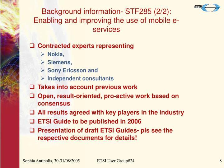 Background information- STF285 (2/2):
