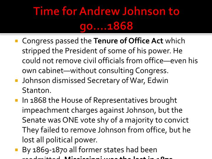 Time for Andrew Johnson to go….1868