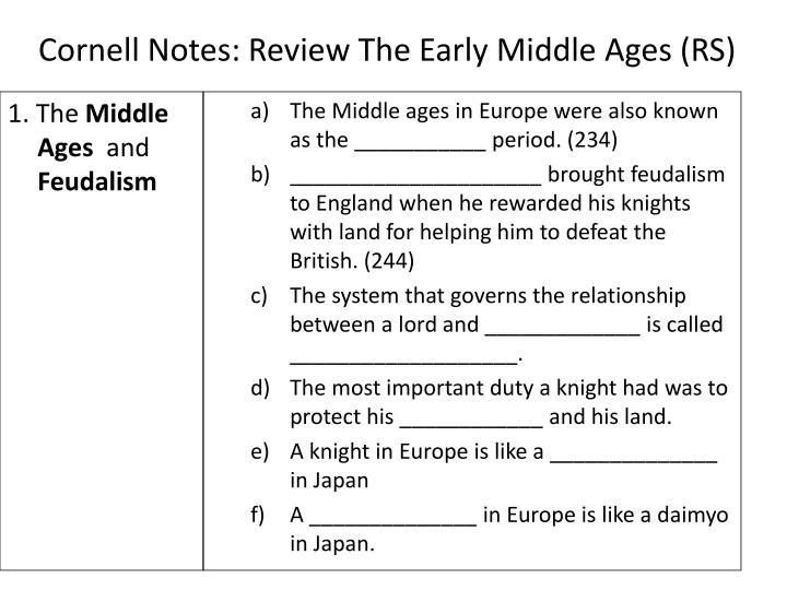 Cornell notes review the early middle ages rs