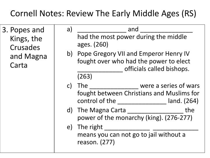 Cornell Notes: Review The Early Middle Ages (RS)