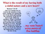 what is the result of my having both a sinful nature and a new heart2
