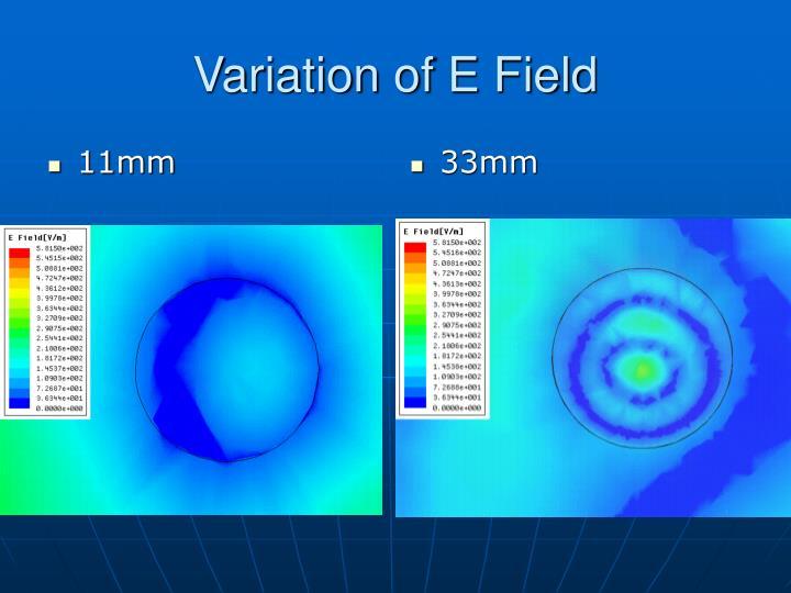 Variation of e field