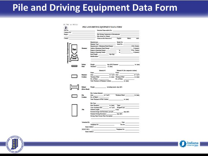 Pile and Driving Equipment Data Form