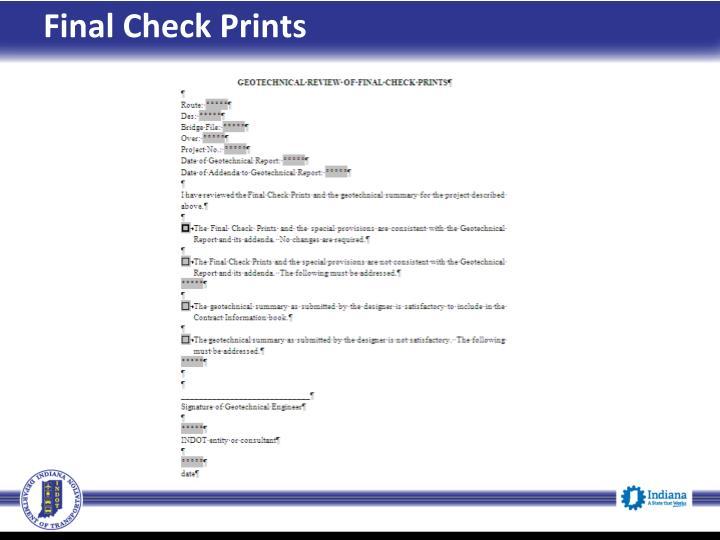 Final Check Prints