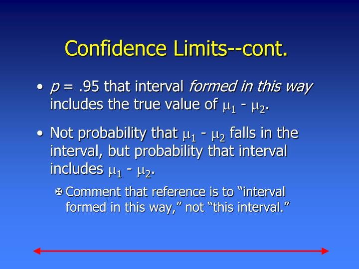 Confidence Limits--cont.
