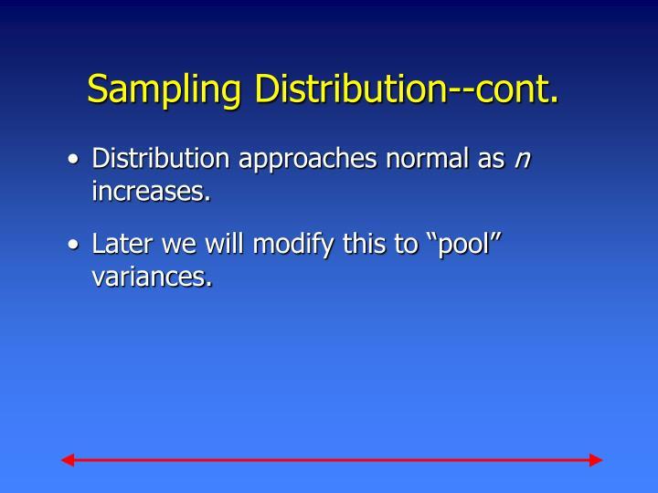 Sampling Distribution--cont.
